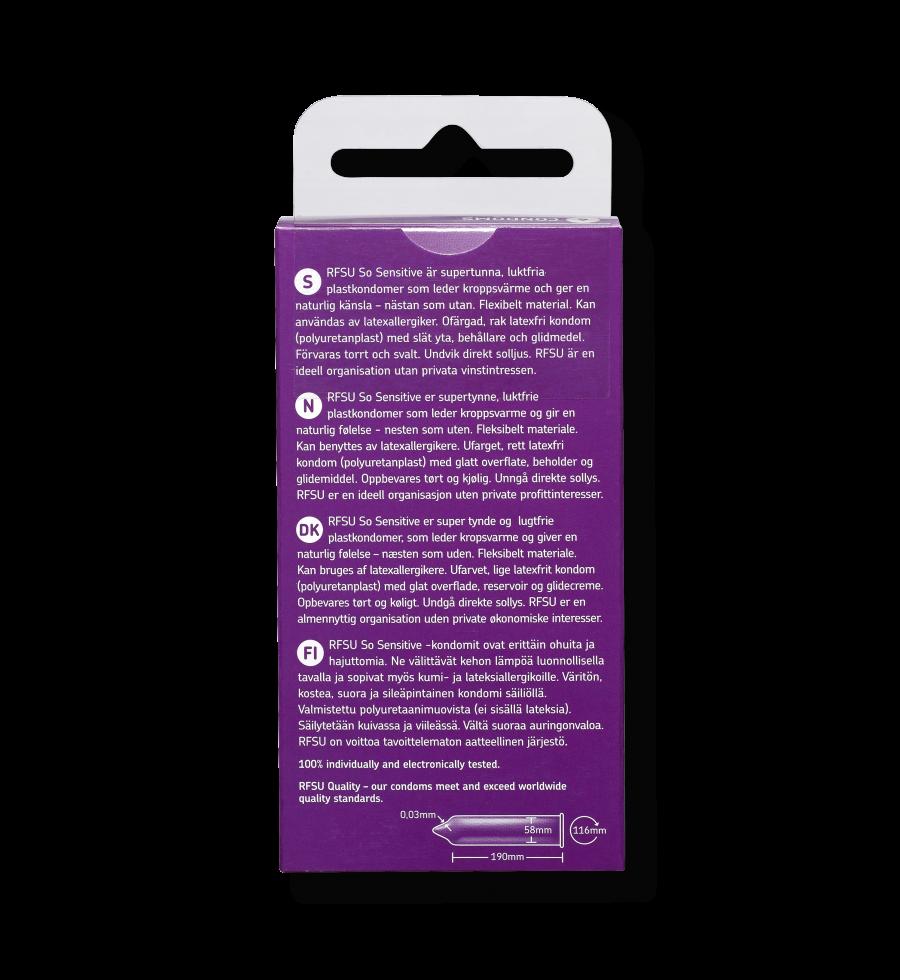 Produktinformation for Sensitive kondomer fra RFSU