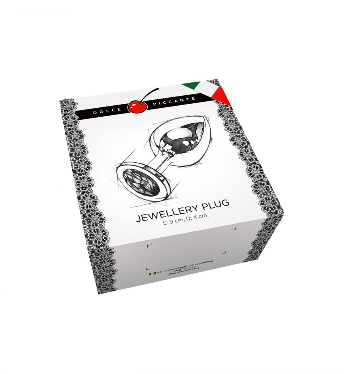 Jewellery in Silver – Large - Italiensk analplugg i metall med smykke - Dolce Piccante