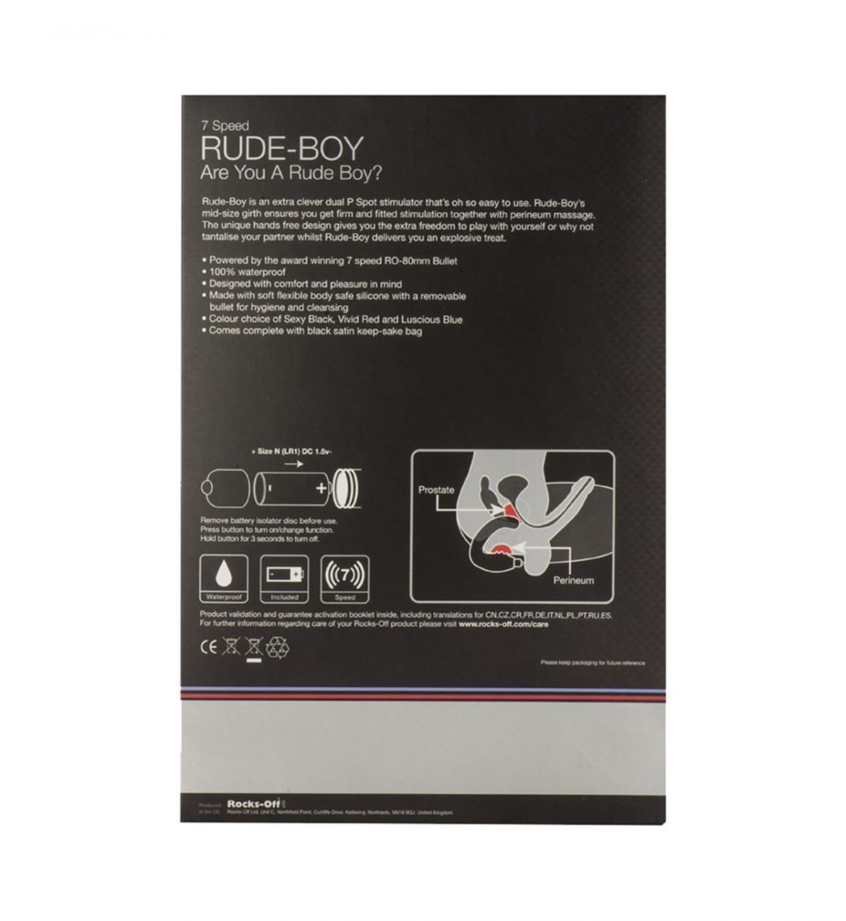 Rude-Boy 7 Speed - Veldesignet vibratorplugg - Rocks-Off