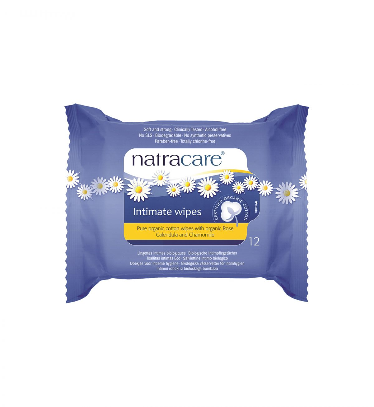 Intimservietter 12-pakning - Våtservietter av 100 % økologisk bomull - Natracare