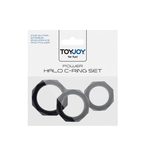 Power Halo C-ring Sett - Sett med penisringer i tre ulike størrelser - ToyJoy