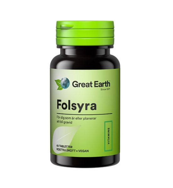 Folsyre 60 stk - Kosttilskudd som inneholder folsyre - Great Earth