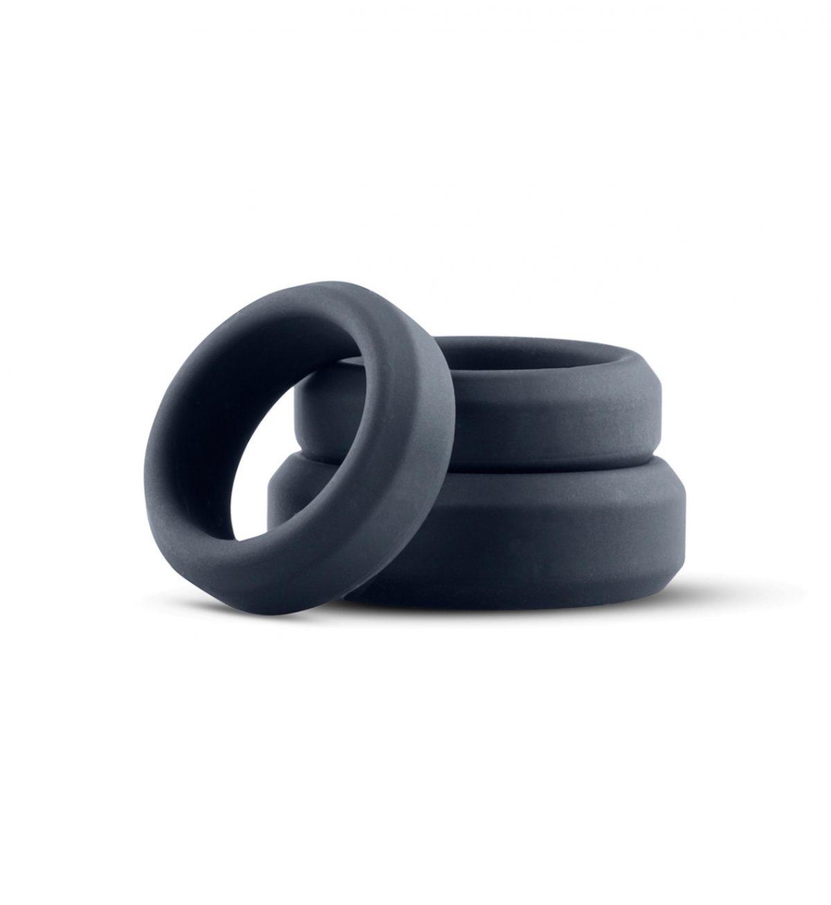 3 Ring kit (flat rings) - 3 penisringer i silikon - Boners