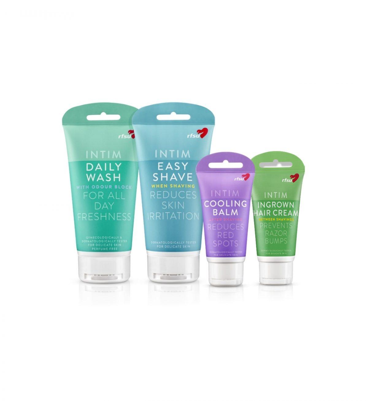 Intimpleie- og barberingssett (fire produkter) - Sett med 4 ulike produkter for intimpleie og barbering - RFSU
