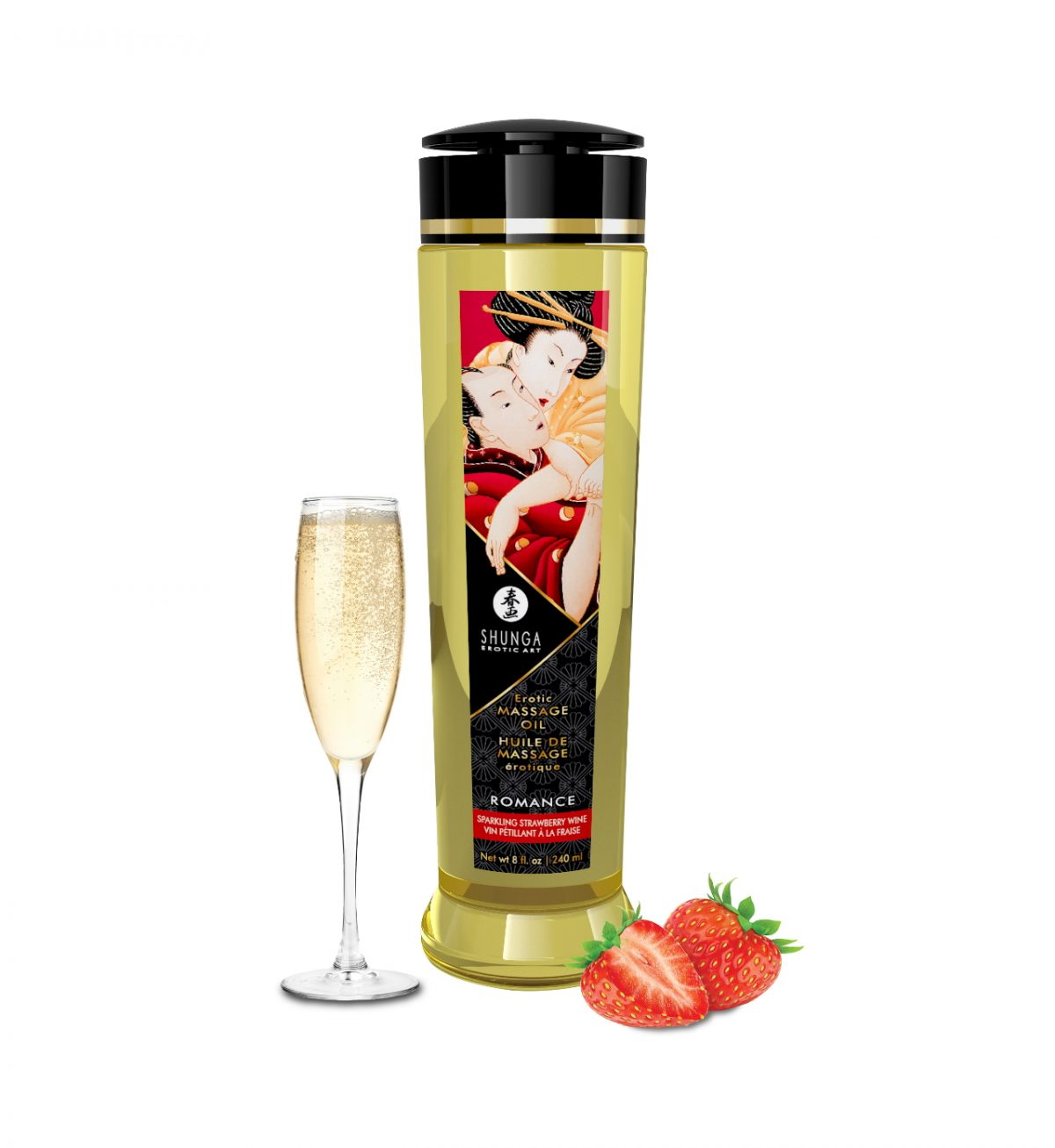 Massasjeolje – Champagne og jordbær - Sensuell massasjeolje med sensuell aroma - Shunga