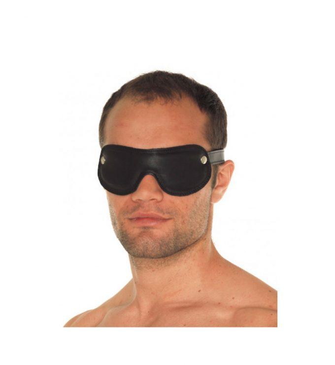 Padded Leather Blindfold – svart - Luksuriøs øyemaske i skinn - Rimba
