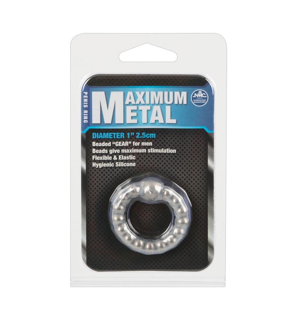 Maximum Metal Cock Ring - Penisring i metall med silikonoverflate - NMC