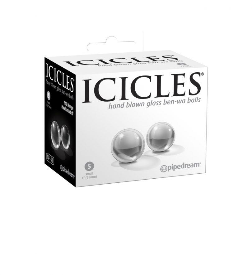 Icicles No.42 Ben Wa Balls, Medium - luksuriøse knipekuler i glass - Pipedream