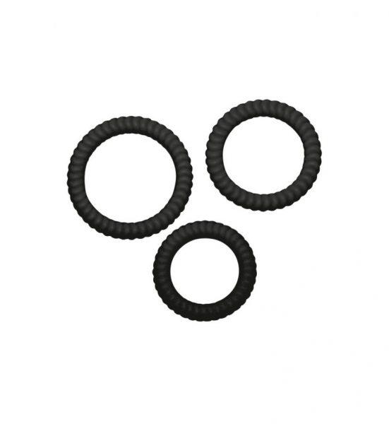 Lust 3 Cock Rings – Svart - tre elastiske penisringer med riflet overflate - You2Toys