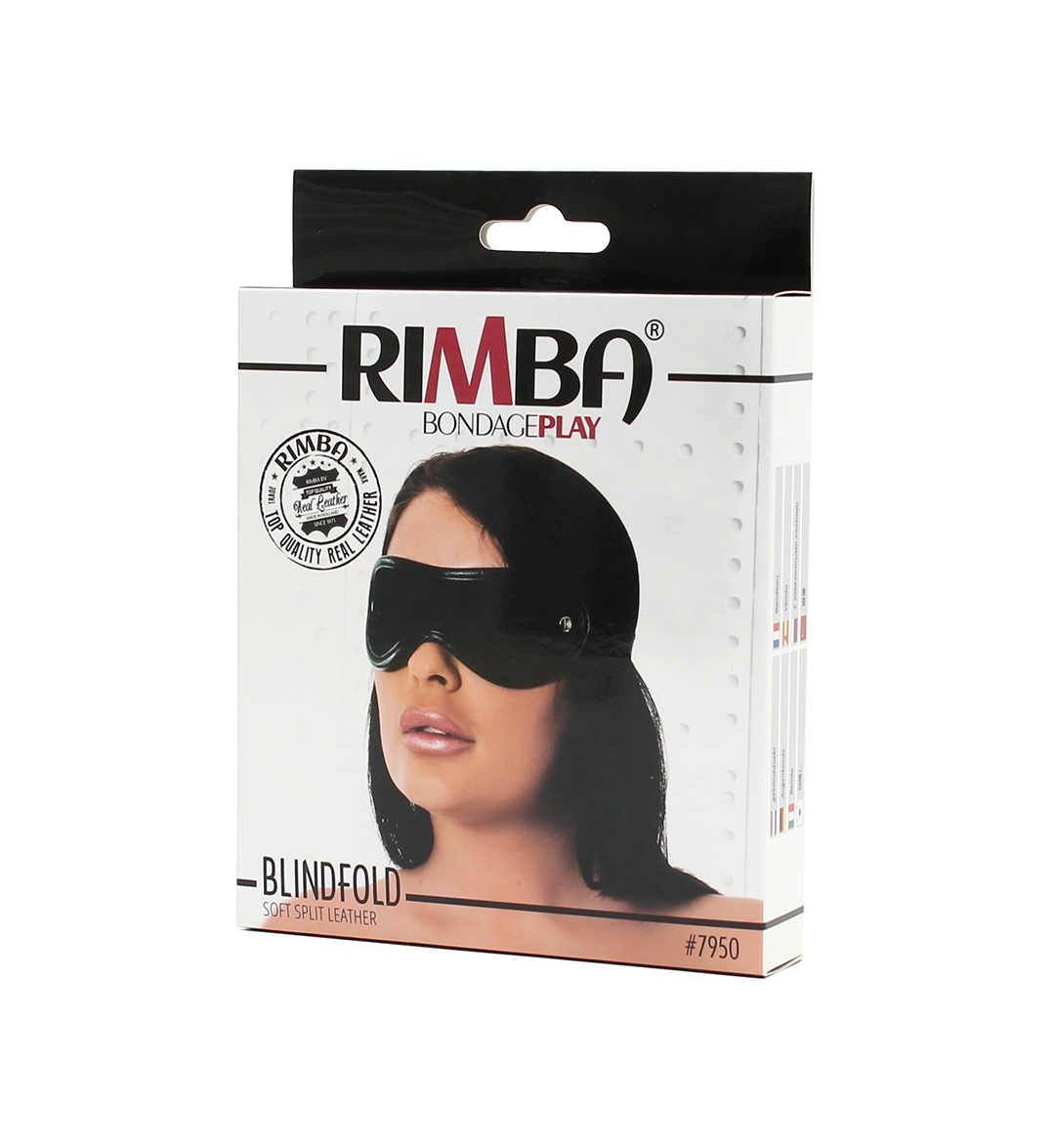 Soft Split Leather Blindfold – svart - Unisex øyebind - Rimba