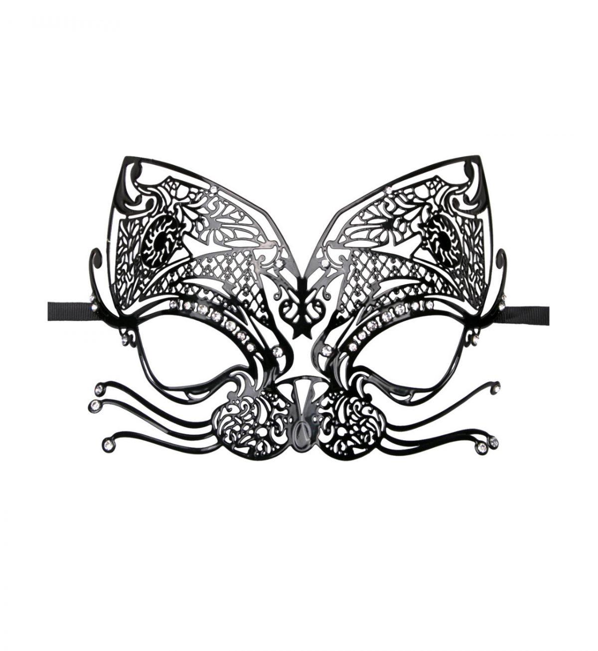 Metal Mask Cat – Svart - svart utkledningsmaske i metall - Easytoys