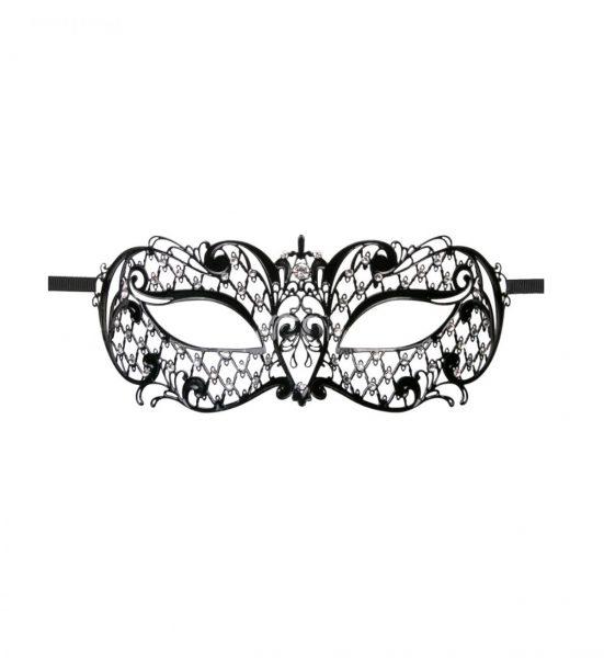 Metal Mask Lace – Svart - Svart maske med blondemønster - Easytoys