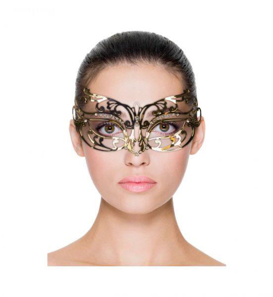 Metal Mask Open – Gull - Gullfarget maske med blondemønster - Easytoys