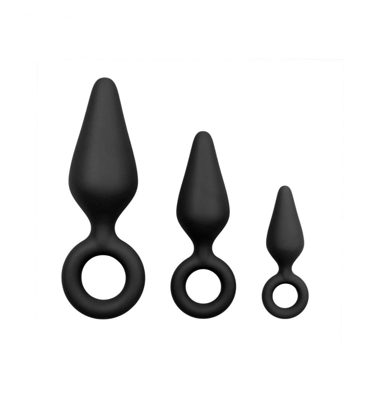 Buttplugs With Pull Ring Set – Svart - Sett med tre buttplugs - Easytoys