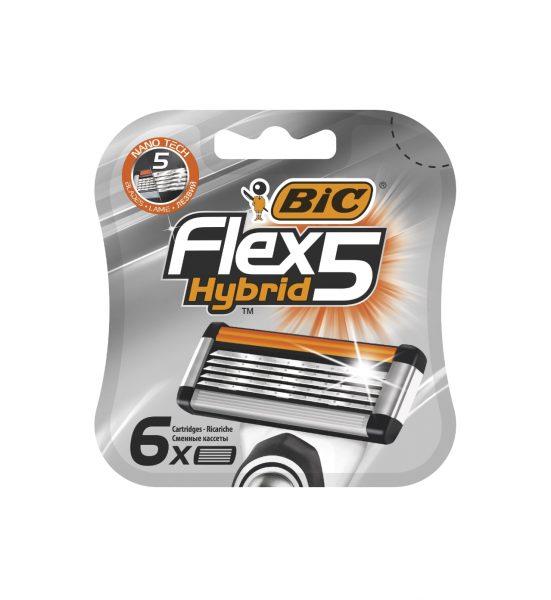 Flex 5 Hybrid ekstrablad, 6 stk - EKSTRABLAD TIL BIC FLEX5 BARBERHØVEL - BIC