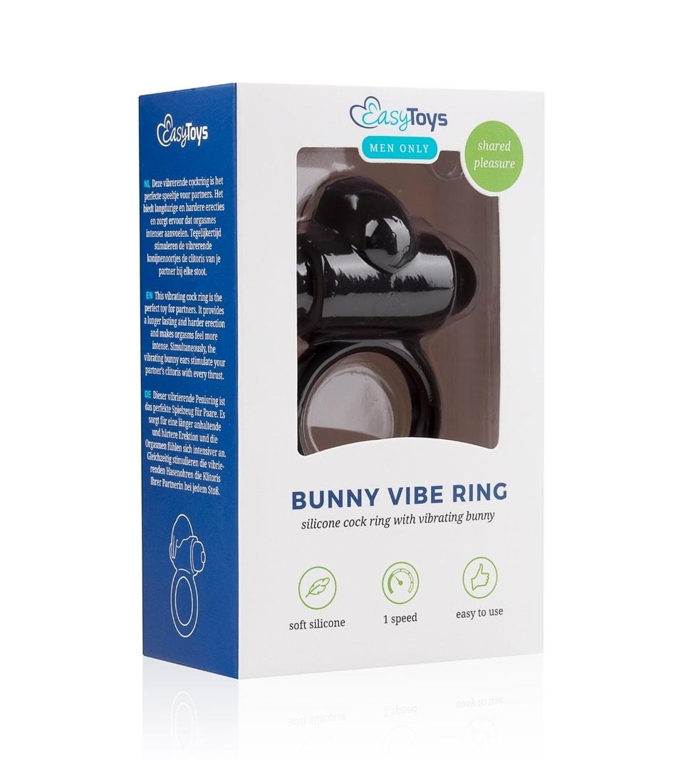 Bunny Vibe Ring, Svart - Vibrerende penisring i silikon - Easytoys