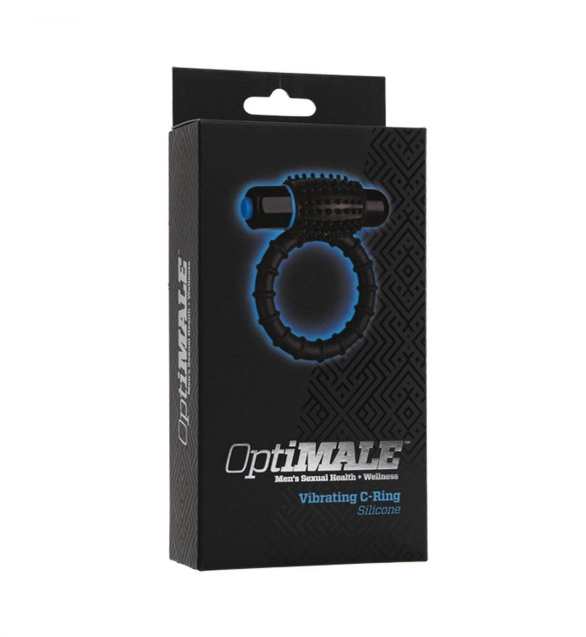 Vibrerande C-Ring, Svart - Rillet vibrerende penisring - OptiMale
