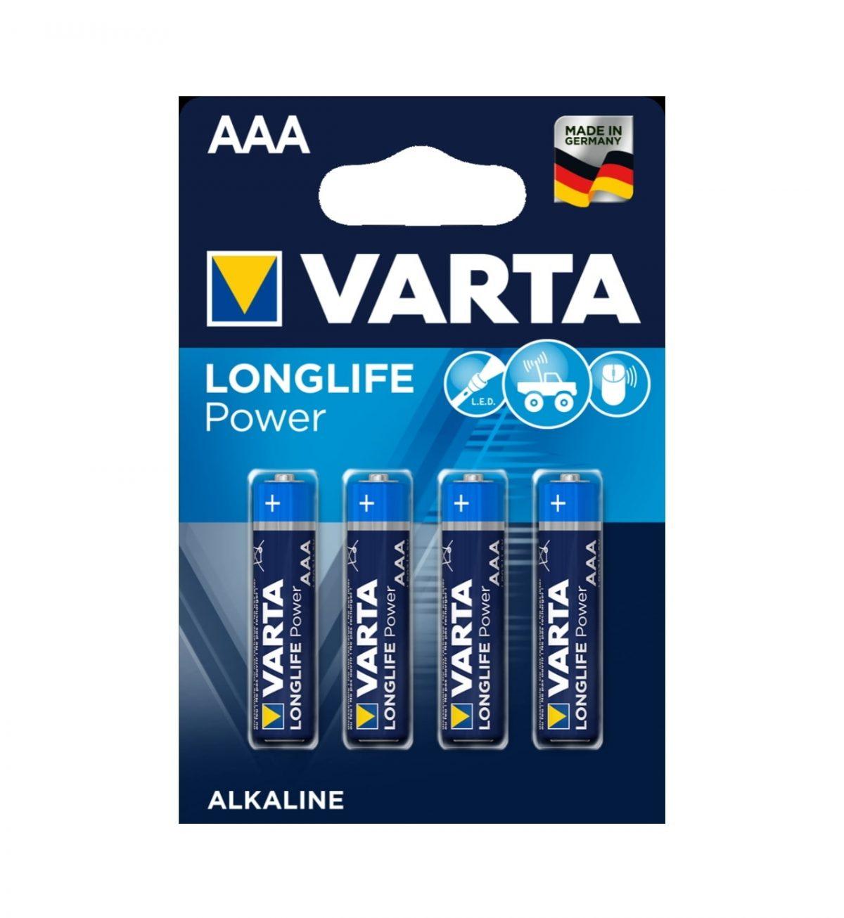 AAA Batterier, 4stk - Kraftige batterier i flerpakning - Varta