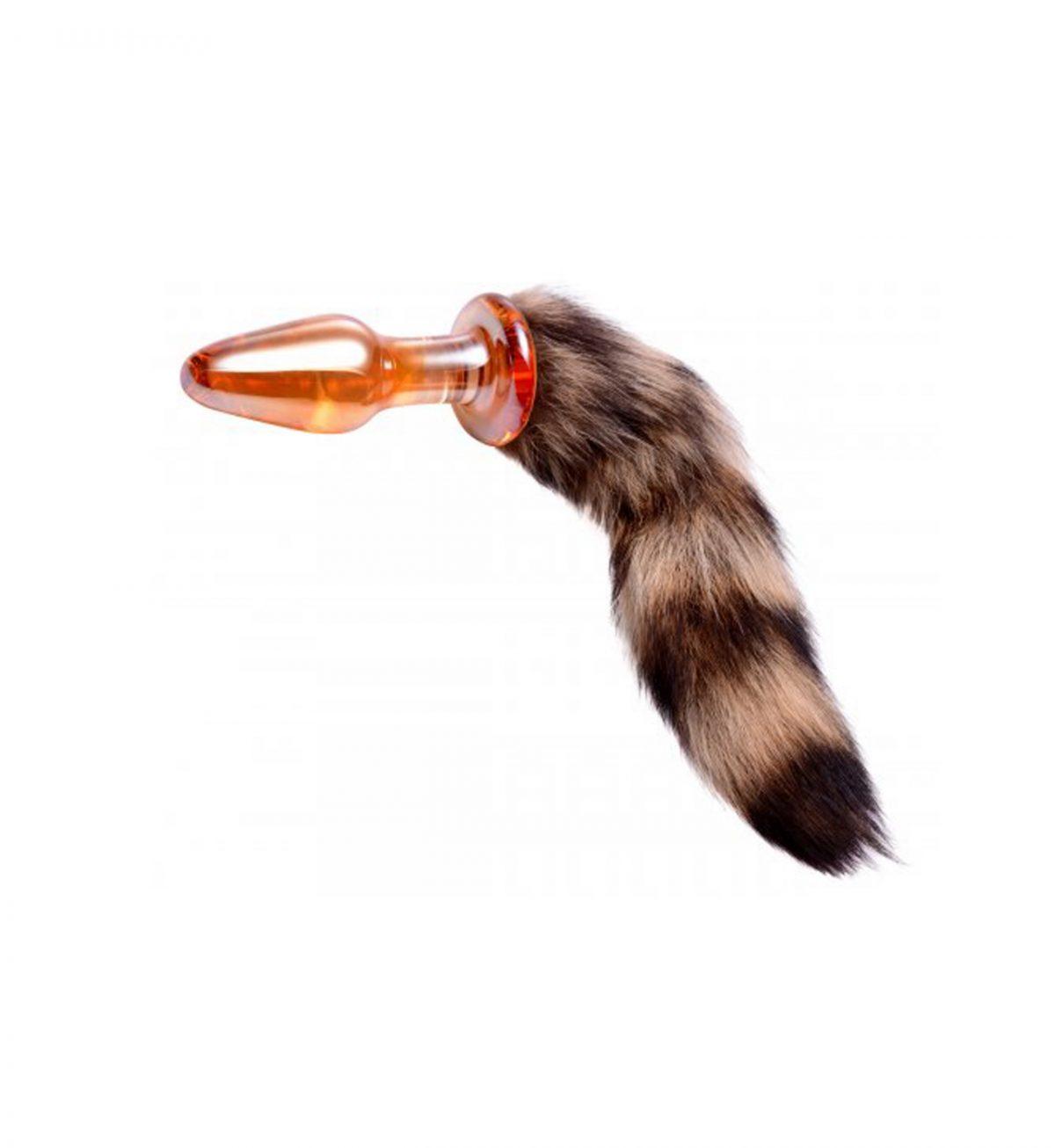 Fox Tail Analplugg Glass - Myk mønstret hale - Frisky