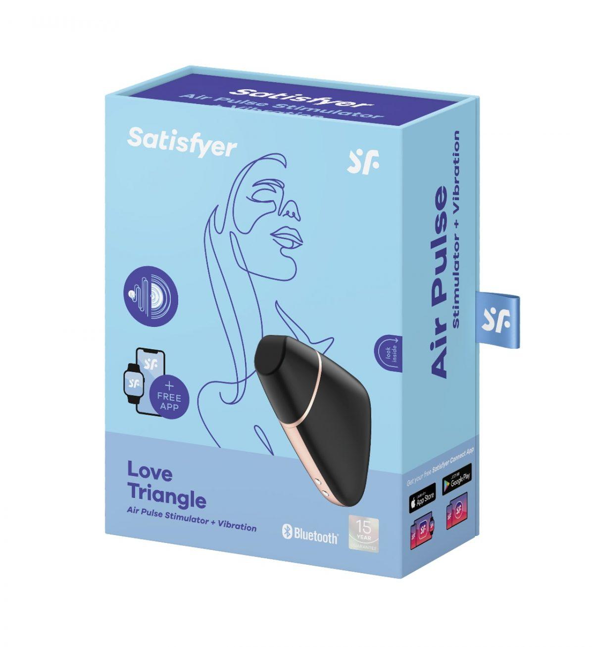 Love Triangle Svart - Appstyrt klitorisvibrator med lufttrykk - Satisfyer