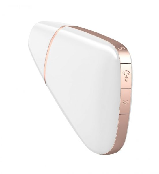 Love Triangle Hvit - Appstyrt lufttrykkvibrator med gulldetaljer - Satisfyer