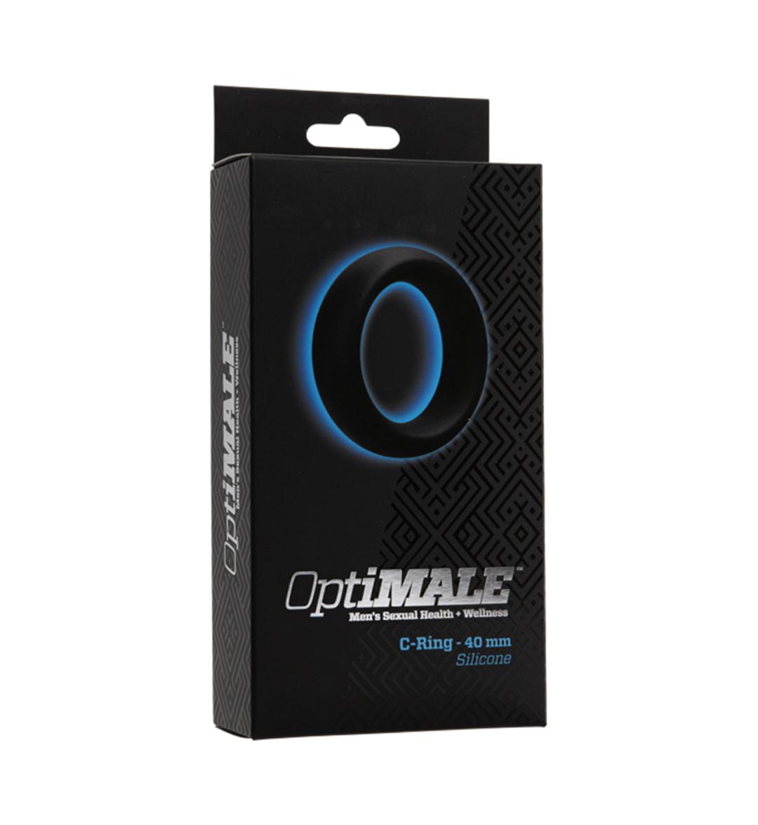 OptiMALE C-Ring 40mm, Svart - myk penisring i elastisk silikon - Doc Johnson