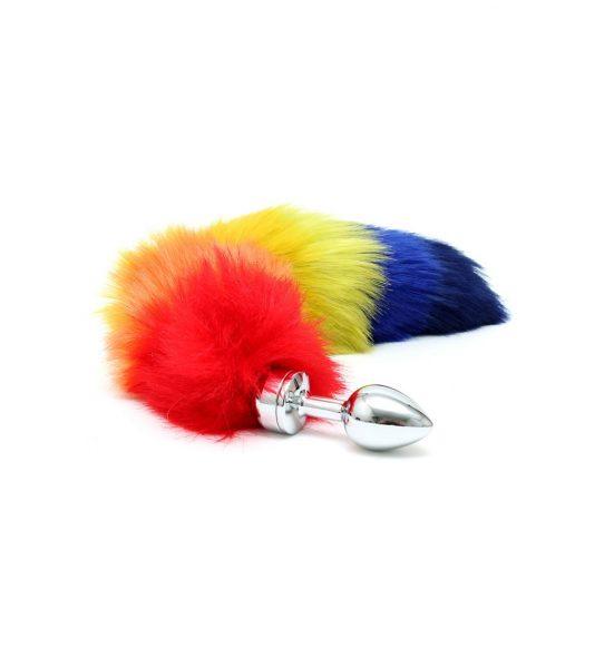 Analplugg med regnbuehale - Analplugg med fargeglad hale - Rimba