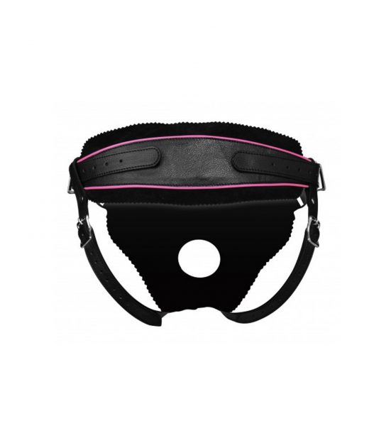 strict leather harness rosa svart