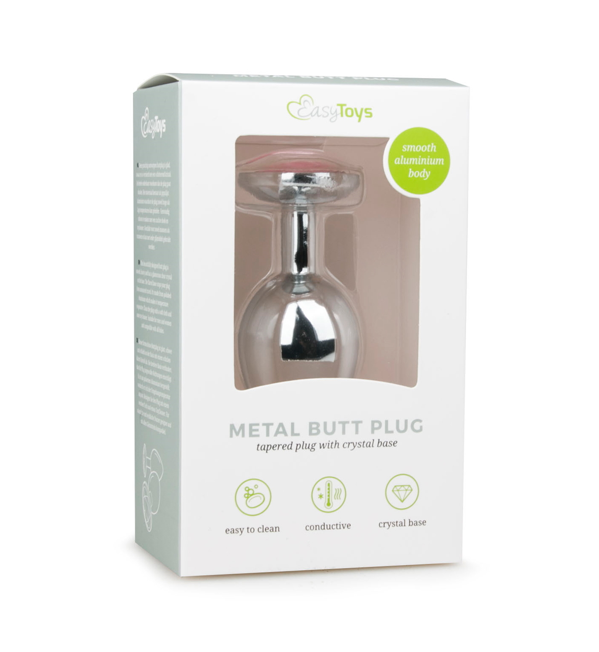 Metal Butt Plug, 8.4cm, cm, Silver/Rosa - Sølvfarget analplugg i metall - Easytoys