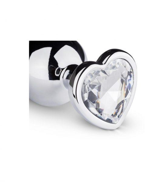Metal Butt Plug, 8,3cm, Silver - Analplugg med krystallhjerte - Easytoys